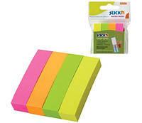 Бумага для заметок самоклейкая (закладки) 4 цветные полоски 76*76мм 100 листов.