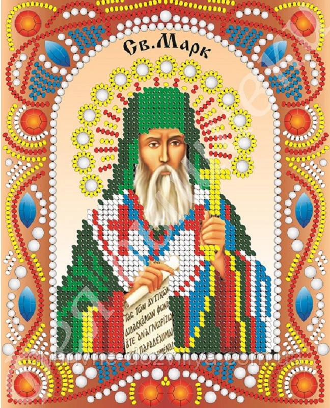 """Именная икона с камнями и жемчугом """"Святой Марк"""""""