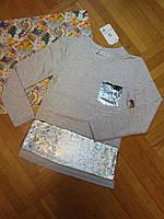 Школьная обманка кофта на девочку с пайетками серая 140 см 10 лет