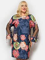 7ffd4c2d016 Женское нарядное платье большого размера с розами