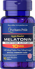 Puritan's Pride Melatonin Flavoured 10mg, Мелатонин (90 таб.)