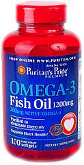 Puritan's Pride Omega 3 Fish Oil 1200 mg, Рыбий Жир (100 капс.)