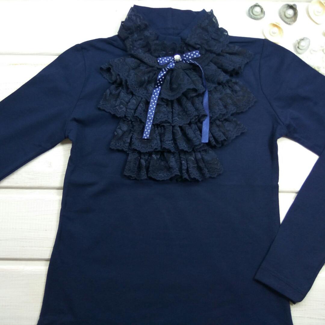 e73e8595ccb Блузка синяя с полустойкой и кружевом для девочки в школу. Размеры 6 ...