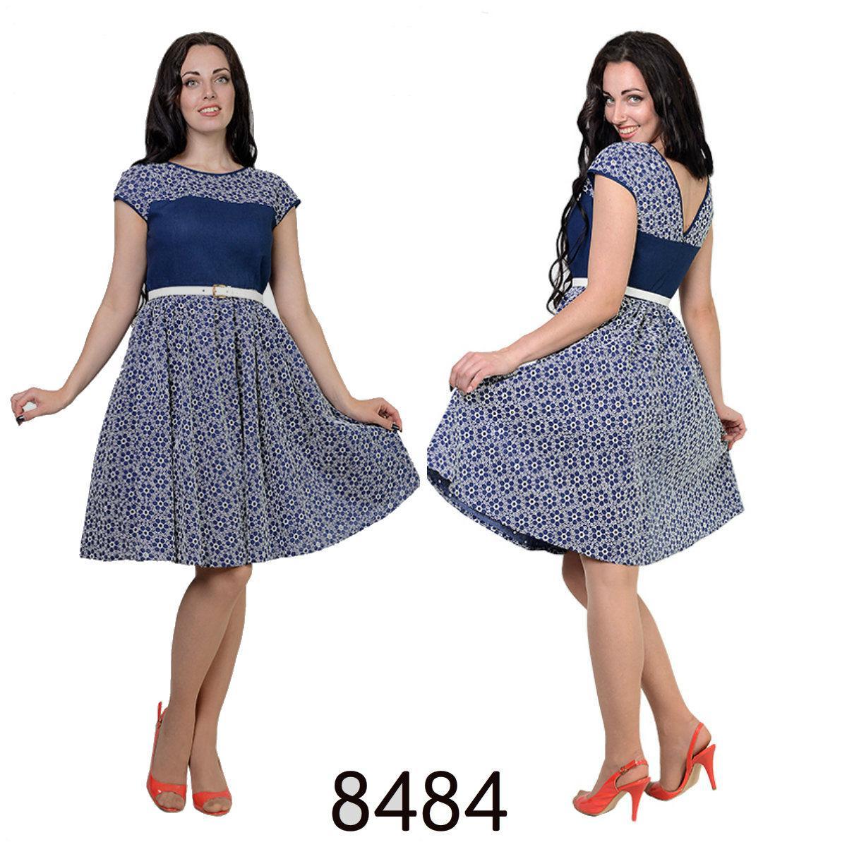 Романтичное платье Эля из ткани лен и перфорированный батист, 44,46,48,50