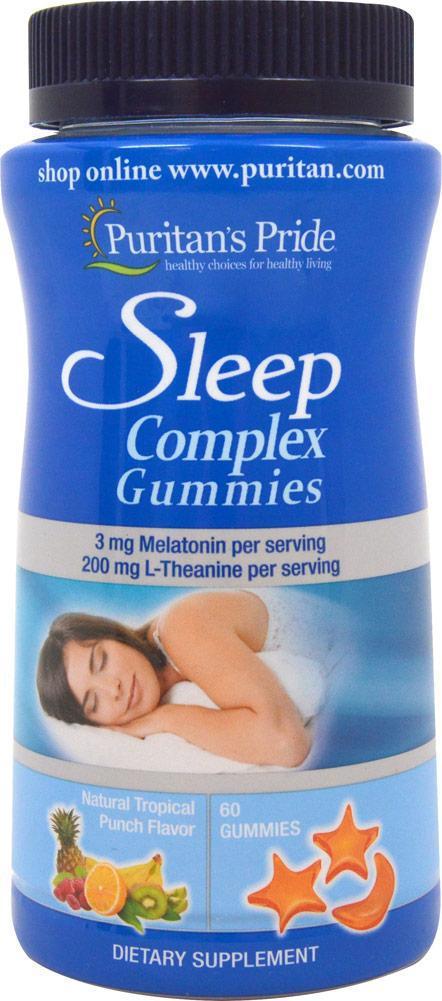 Puritan's Pride Sleep Complex, Комплекс для сна, Мелатонин, L-Теанин (60 капс.)