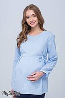 Стильная клетчатая блузка для беременных и кормящих SHADE NEW, бело-голубая клетка 1, фото 1