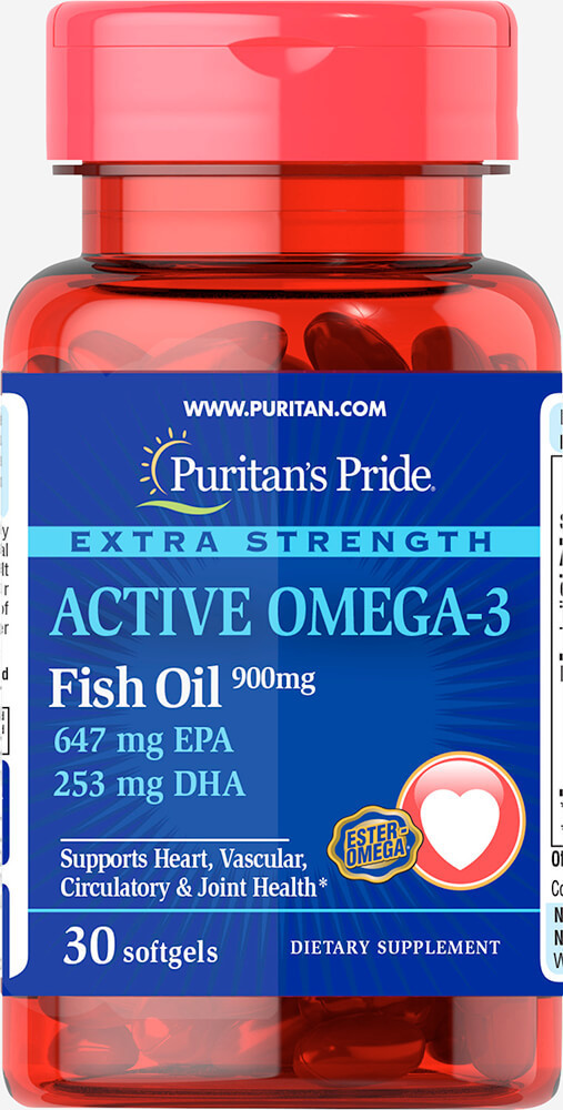 Puritan's Pride Extra Strenght Active Omega-3 Fish Oil 1410 mg (30 капс.)