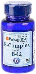 Puritan's Pride B-Complex + B-12, Комплекс вітамінів B плюс вітамін B-12 (180 таб.)