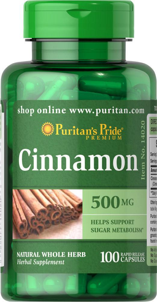 Puritan's Pride Cinnamon, Кориця 500mg (100 капс.)