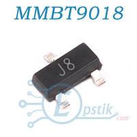 MMBT9018, (J8), транзистор биполярный NPN, 0.05A 15B, SOT23