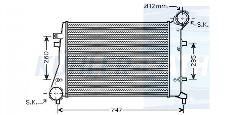 Радиатор интеркулера Volkswagen Caddy 3 2008- (2.0TDI) KEMP