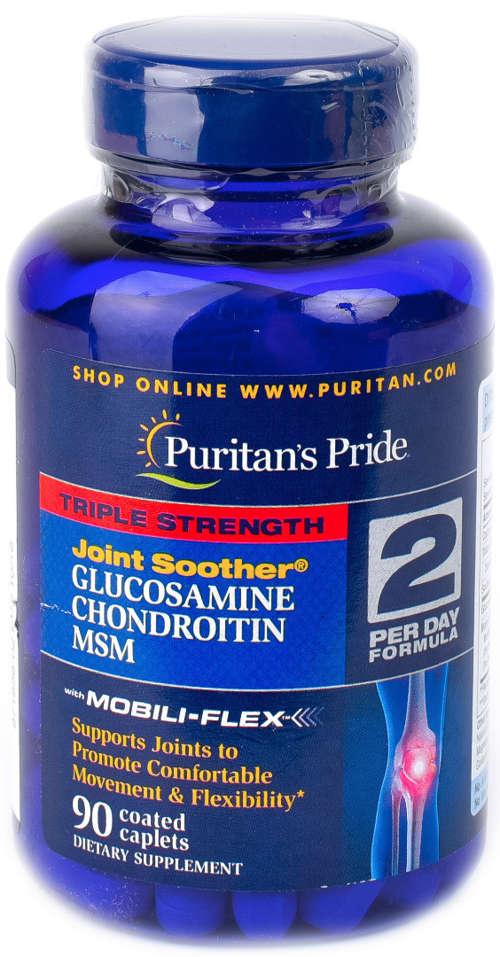 Puritan's Pride Triple Strength Glucosamine Chondroitin and MSM, Комплекс для суставов и связок (90 таб.)