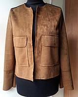 Куртка женская (размеры в описании) коричневая по замшу Souchi