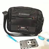 Мужская городская сумка планшет Swissgear черная 22х30х11 см через плечо