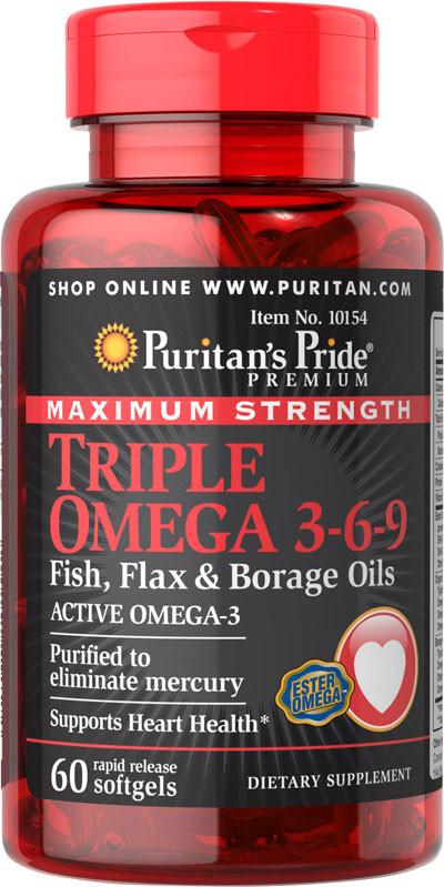 Puritan's Pride Triple Omega 3-6-9 Maximum Strength (60 капс.)