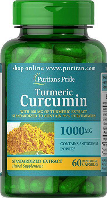 Puritan's Pride Turmeric Curcumin 1000 mg with Bioperine 5 mg, Куркумин (60 капс.)