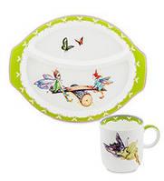 Набор детской посуды на 2 предмета Эльф (Buona Elf Pavone) из костяного фарфора