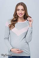 Стильный свитшот для беременных и кормления ORLA, из трикотажа трехнитка с люрексом, серый*, фото 1