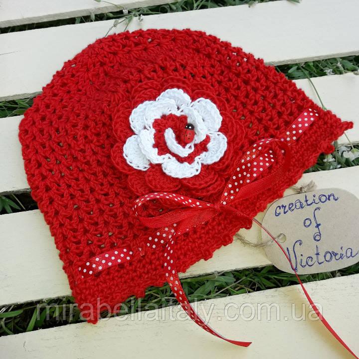 Летняя хлопковая шапочка - панамка для девочки ручной работы