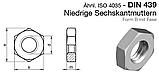 DIN 439 (ГОСТ 5615-70; ISO 4035) - Нержавеющая гайка шестигранная низкая, фото 3