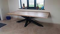 Большой мощный стол  в лофт loft стиле из натурального дерева