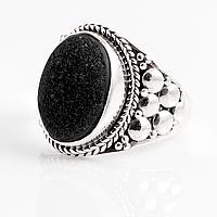 Агат черный друза, серебро 925, кольцо, 893КА