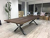 Стол X в лофт стиле массив дерева плюс металл мебель loft