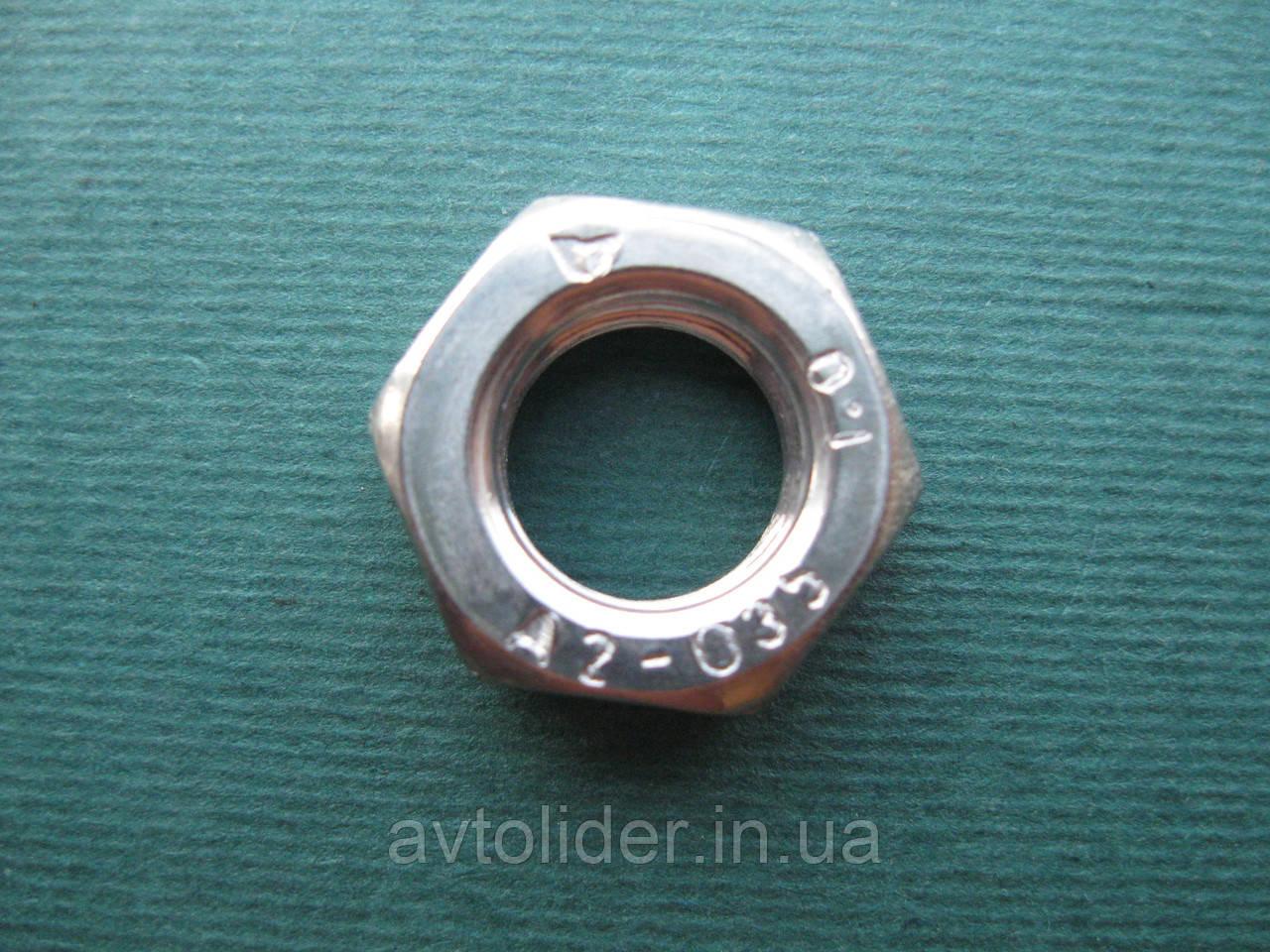 DIN 439 F (ГОСТ 5615-70; ISO 8675) - Нержавеющая гайка шестигранная низкая с мелким шагом резьбы