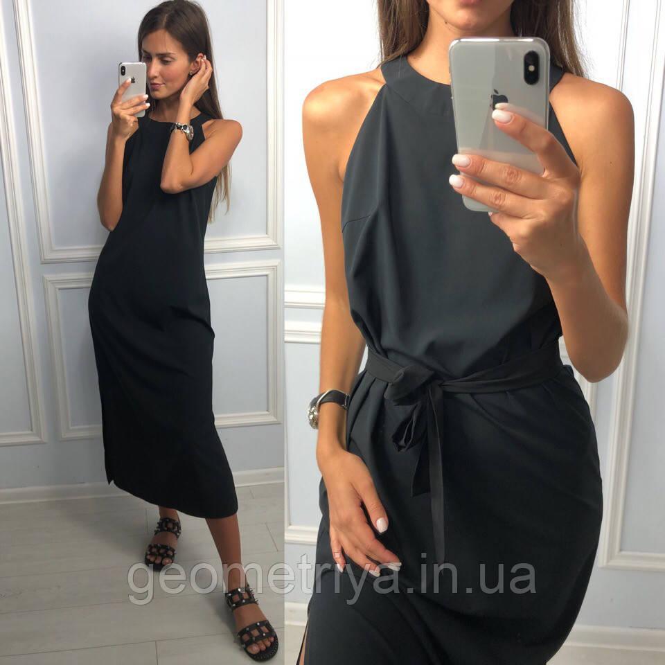4b53192d5e9 Женское ровное платье миди черного цвета - Интернет-магазин Геометрия в  Харькове