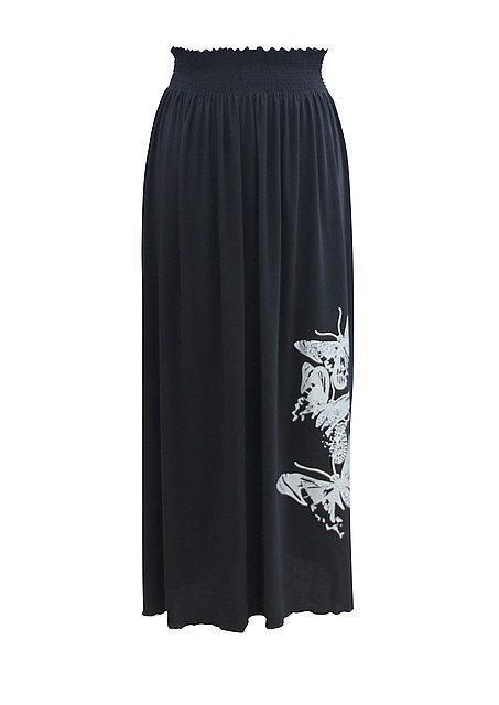 Размер 58 - длинная юбка - без узора - цвет черный
