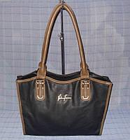 Женская классическая сумка модель 91418 черная с коричневым, фото 1