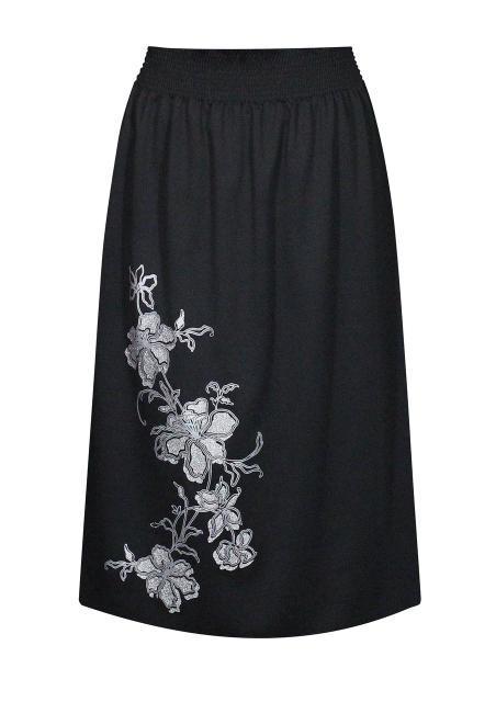 Размер 52 - юбка длина 80 см - узор Ветка - цвет черный
