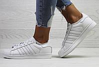 Adidas Superstar женские кроссовки  белые  в фирменных коробках (Реплика ААА+), фото 1