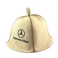 Шапка для сауны (белая), Mercedes, искусственный фетр, Saunapro