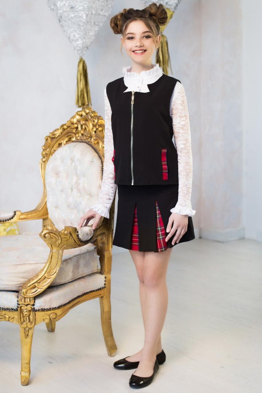 Костюм жилетка+юбка для девочки к-10,  122р.