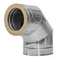 Дымоходное колено 90гр 120мм  толщиной 0,8мм/304 в оцинковке 0,5