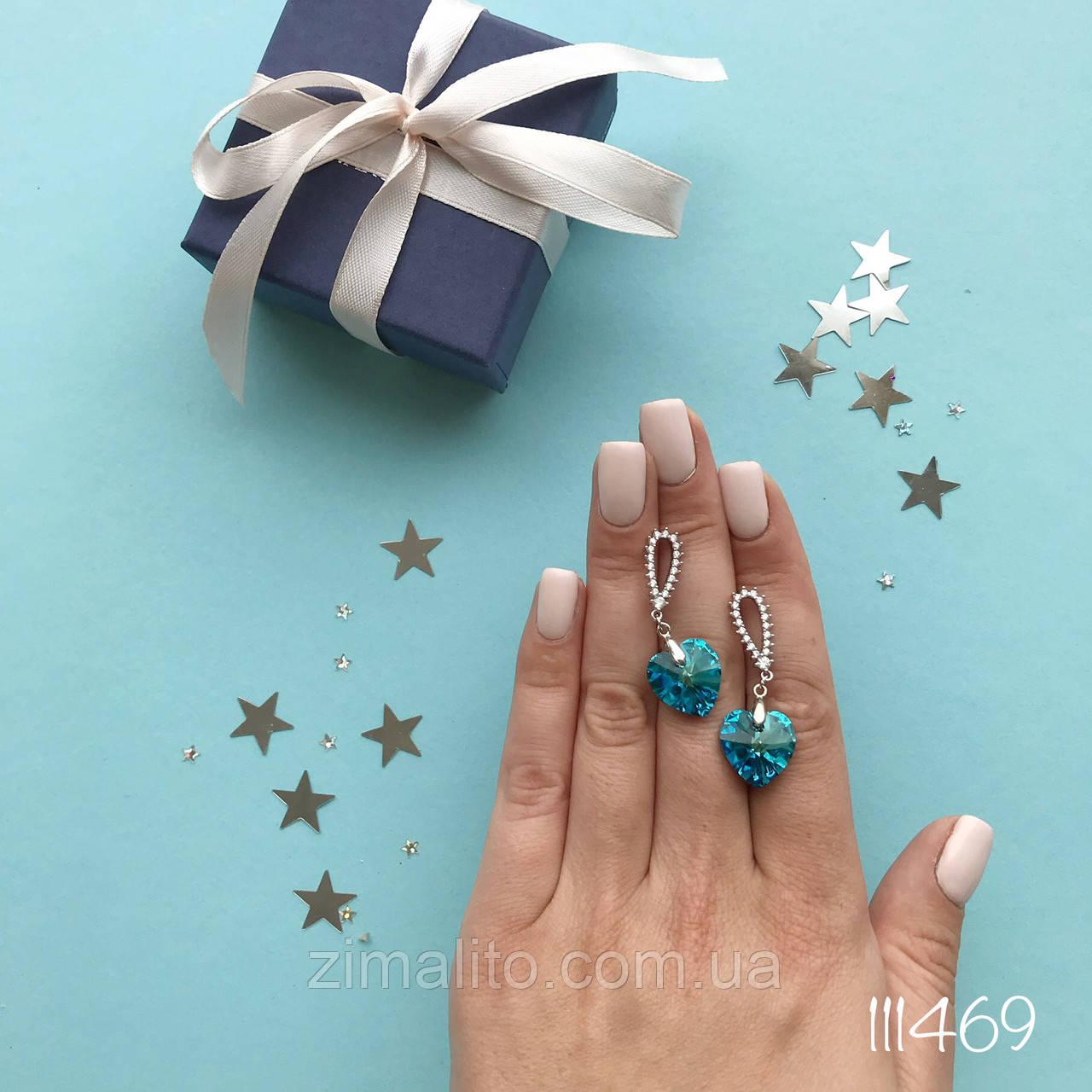 Серьги серебряные MARY ME с голубым камнем
