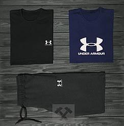 Мужской комплект две футболки + шорты Under Armour синего и черного цвета (люкс копия)