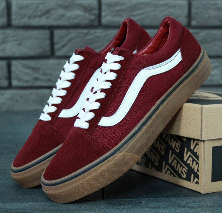 d571fd28b939 Кеды в стиле Vans Old Skool Red/Gum Sole унисекс