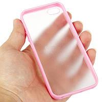 Чехол бампер для iPhone 5/5s розовый с полупрозрачной матовой задней крышкой накладкой силиконовый розовый