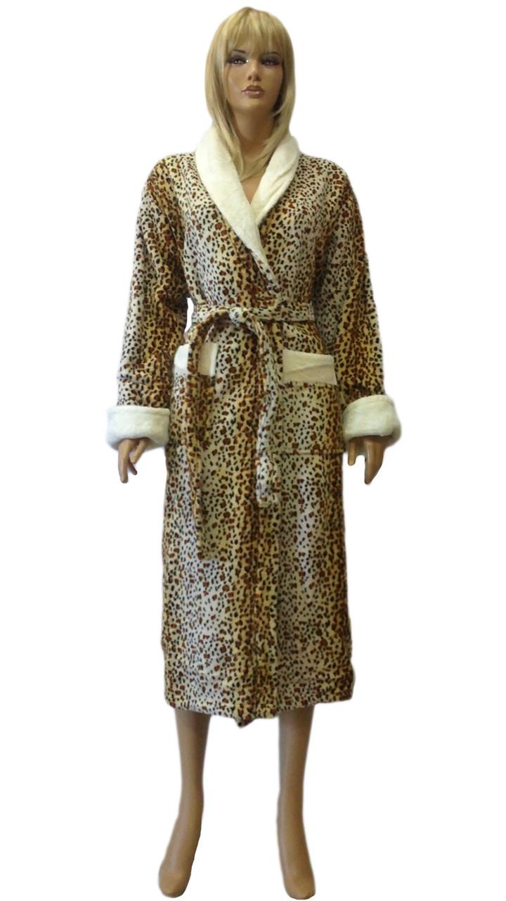 Халат пушистый леопардовый (soft) NUSA