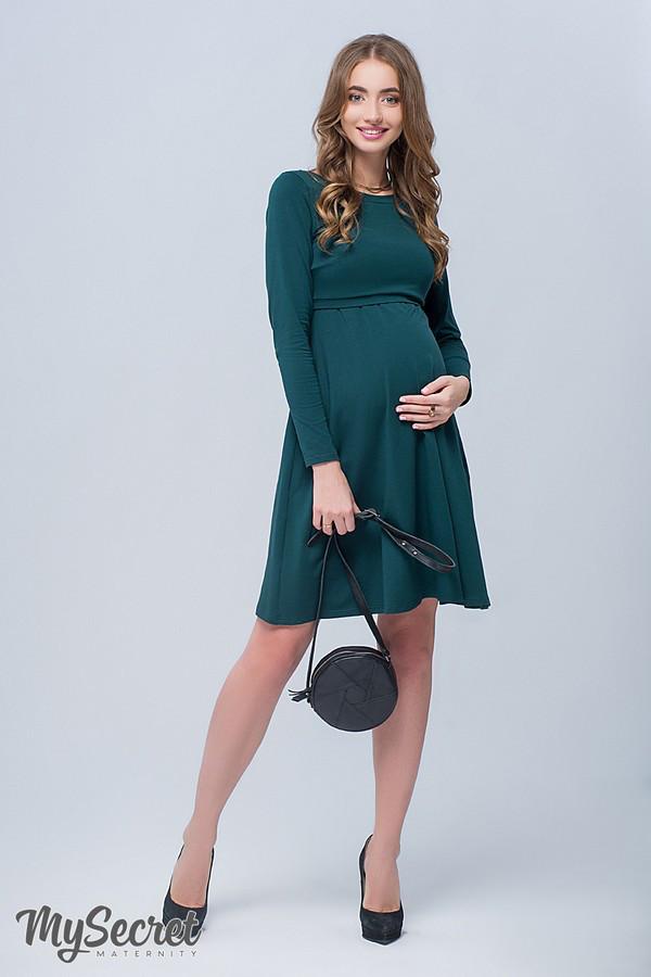 eb7bf9a17f0e Платье осеннее для беременных и кормящих плотный трикотаж бутылочный M -  АНГЕЛОЧКИ в Харькове