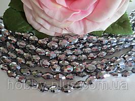 Бусины хрустальные (рис), 6х8 мм, 35-36 шт, цвет серебро (гальваника)