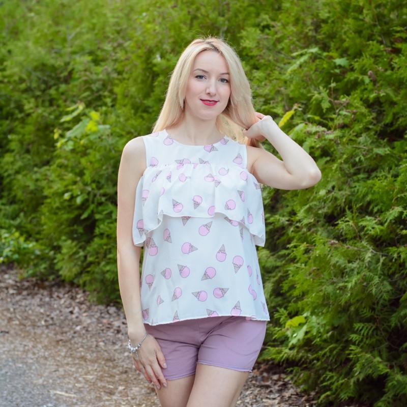 """Блуза для беременных и кормящих HIGH HEELS MOM """"Мороженое"""" белая"""