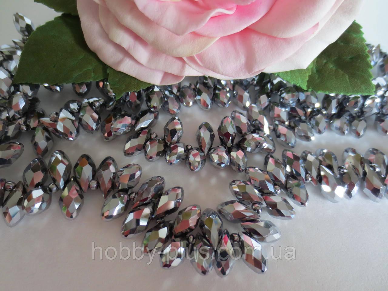 Бусины хрустальные (капля с боковым отверстием), 6х12 мм, 20 шт, цвет серебро (гальваника)