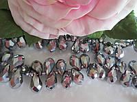 Бусины хрустальные (капля с боковым отверстием), 8х13 мм, 20 шт, цвет серебро (гальваника)