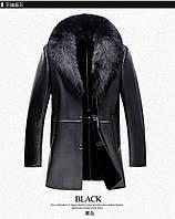 Мужское меховое кожаное пальто  , фото 1