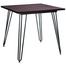 Стол обеденный квадратный Smith ножки черные столешница Гевея 800*800 мм (AMF-ТМ)