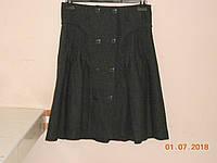 Серая зимняя юбка из шерсти со строчками и пуговицами  Solar, фото 1