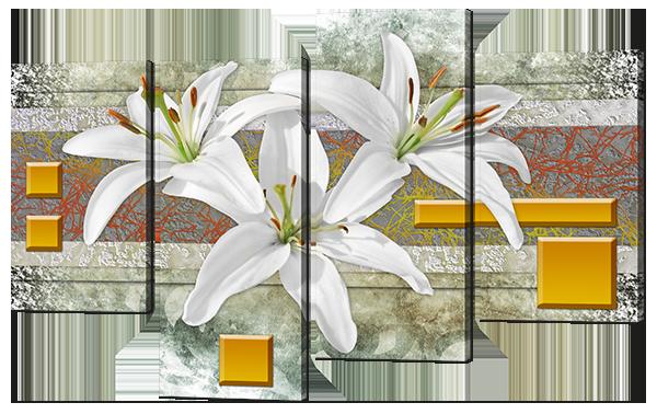 Модульная картина Лилии абстракция